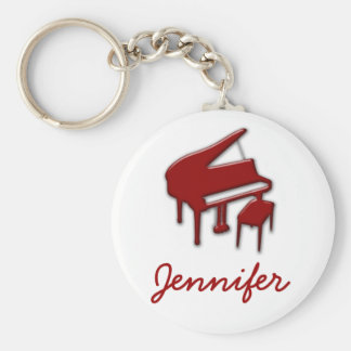 White with Red Piano Name Monogram Student Gift Keychain