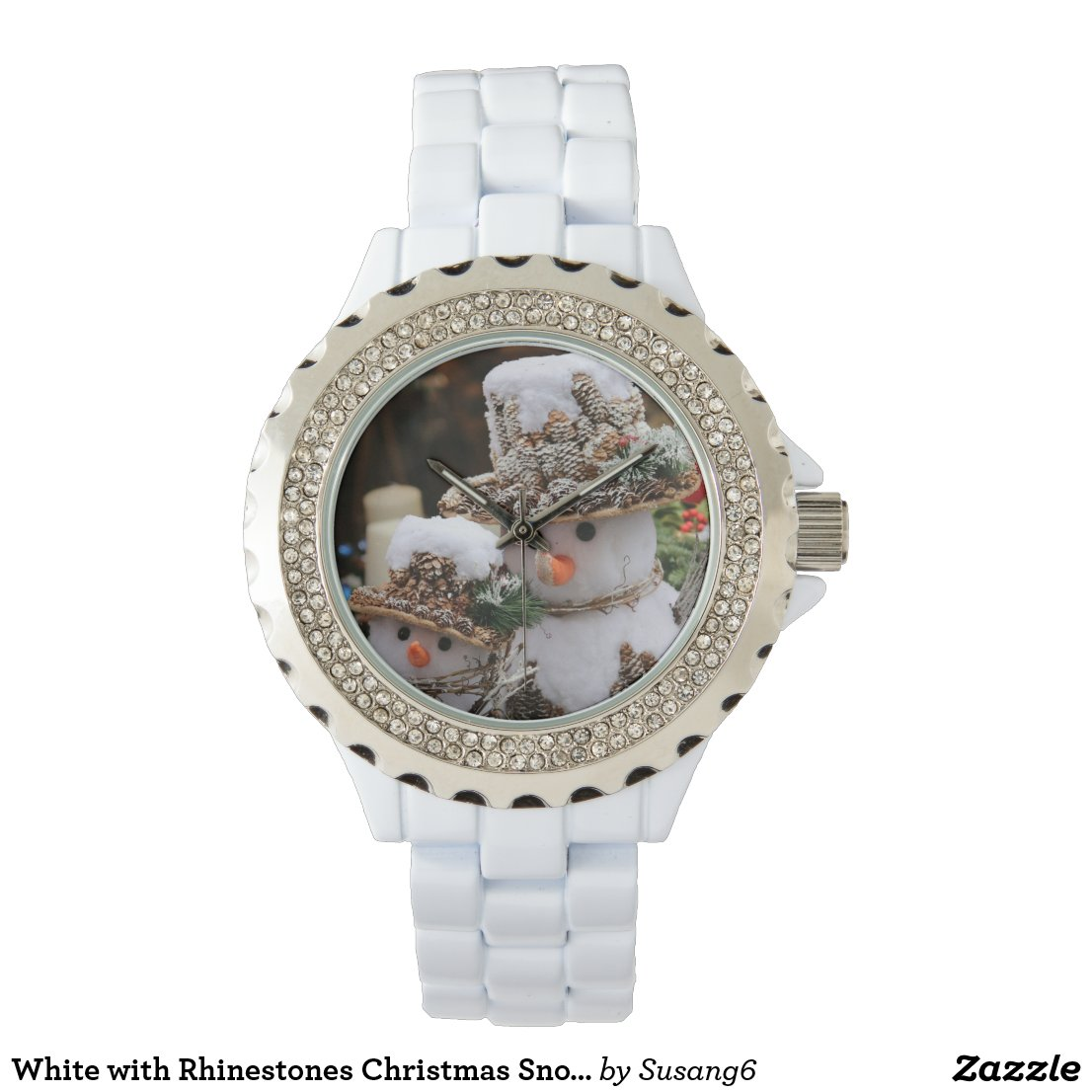 White with Rhinestones Christmas Snowman Watch