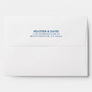 White with Rich Blue Stripe Inside Invite Envelope