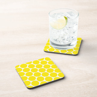 White With Yellow Polka Dots Pattern Coasters