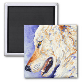 White Wolf 2 Inch Square Magnet