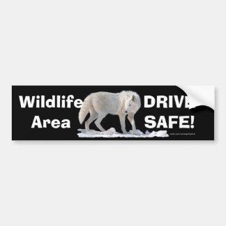 White Wolf Arctic Wolf Driver Safety Bumpersticker Car Bumper Sticker