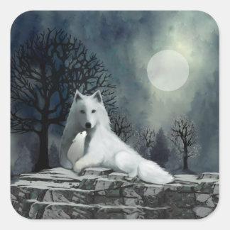 White Wolf con los pegatinas del perrito Pegatina Cuadrada