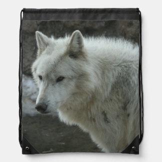 White Wolf Drawstring Bag