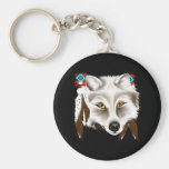 White Wolf Face Keychain