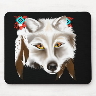 White Wolf Face Mousepad