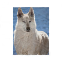 White Wolf Fleece Blanket