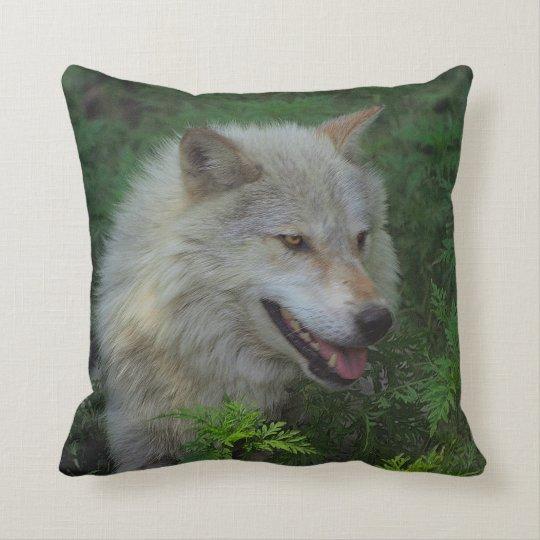 White Wolf Grey Wolf Wild Animal Throw Pillow