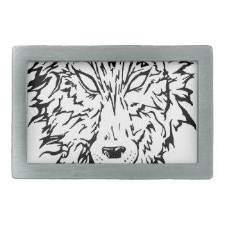 White Wolf Hebilla Cinturon Rectangular