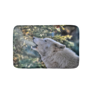 White Wolf Howling in a Winter Forest Bath Mat