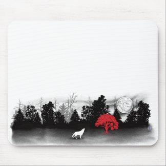 White wolf in forest with red tree mousepad