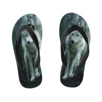 White Wolf in the forest Kid's Flip Flops