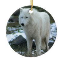 White Wolf in Winter Ceramic Ornament
