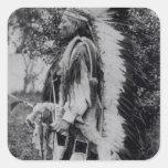 White Wolf, jefe del Comanche, c.1891-98 Pegatina Cuadrada