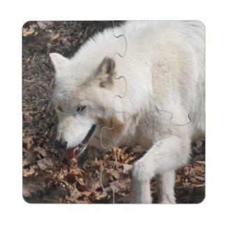 White Wolf lindo Posavasos De Puzzle