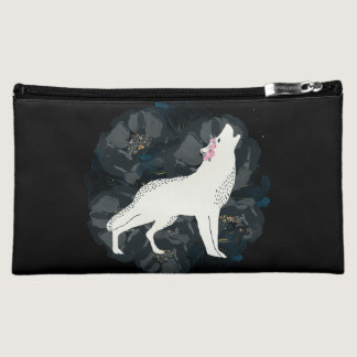 White Wolf on Circle of Black Roses Bag