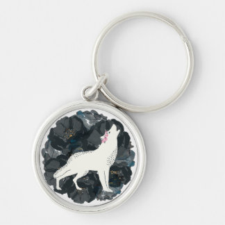 White Wolf on Circle of Black Roses Keychain