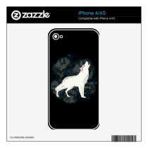 White Wolf on Circle of Black Roses Phone Skin Skin For The iPhone 4