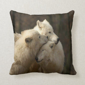 White Wolf Pack Pillow