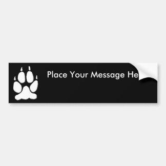 White Wolf Paw Print Bumper Sticker
