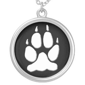 White Wolf Paw Print Pendant