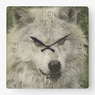 White Wolf Pencil Illustration Drawing Clock