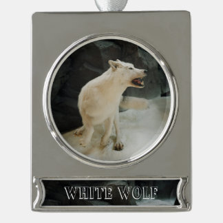 White Wolf Silver Plated Banner Ornament