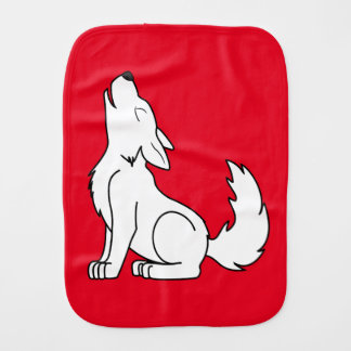 White Wolf Pup Howling Baby Burp Cloth