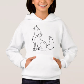 White Wolf Pup Howling Hoodie