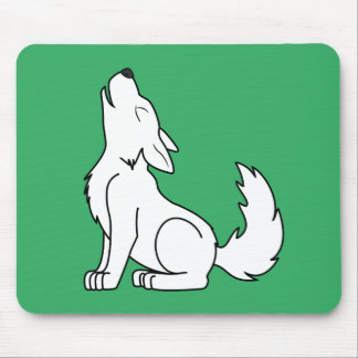 White Wolf Pup Howling Mouse Pad