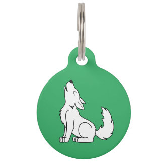 White Wolf Pup Howling Pet Tag