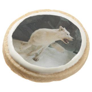 White Wolf Round Shortbread Cookie