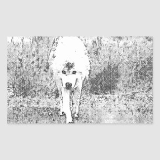 White Wolf Sketch in Pen and Ink Rectangular Sticker