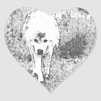 White Wolf Sketch in Pen and Ink Heart Sticker