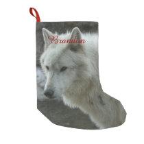 White Wolf Small Christmas Stocking