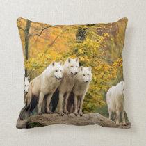 White wolf - snow wolf - wolf animal throw pillow