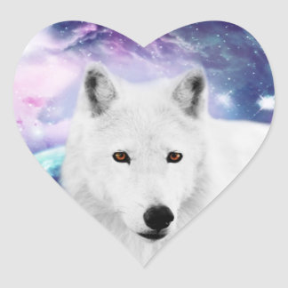 White wolf heart stickers