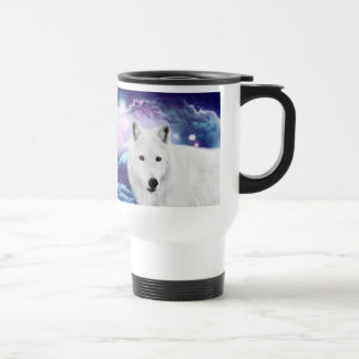 White wolf travel mug