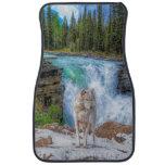 White Wolf & Waterfall Wildlife Art Floor Mat