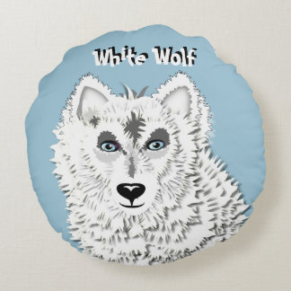 White Wolf Wild Animal Illustration Round Pillow