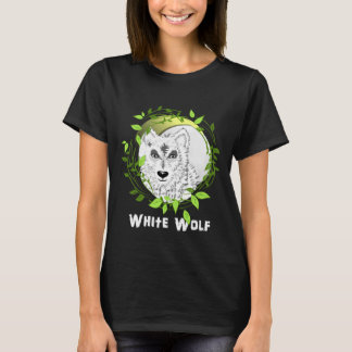 White Wolf Wild Animal Illustration T-Shirt