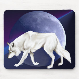 White Wolf with Half Moon Mousepad