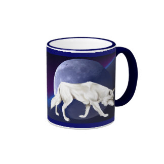 White Wolf with Half Moon Mug