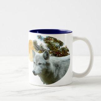 WHITE WOLF WITH MOON Two-Tone COFFEE MUG