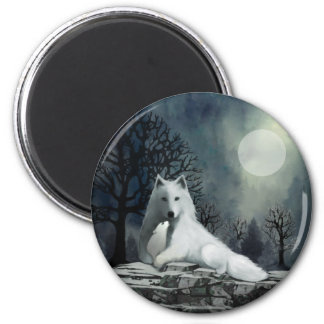White Wolf with Pup Magnet