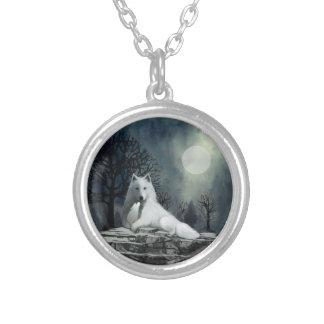 White Wolf with Pup Necklace