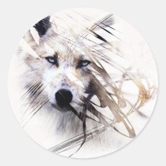 White Wolf wolves animal art Classic Round Sticker