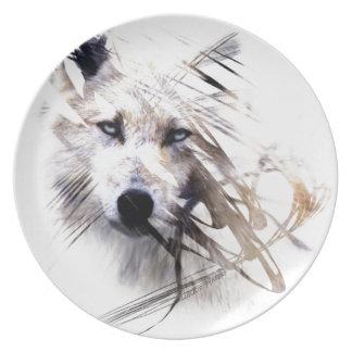 White Wolf wolves animal art Melamine Plate