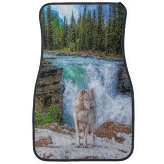 White Wolf y arte de la fauna de la cascada Alfombrilla De Auto