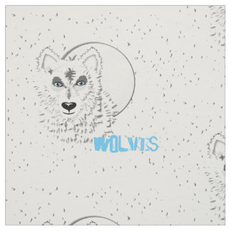 Wolf and moon fabric zazzle for Moon print fabric
